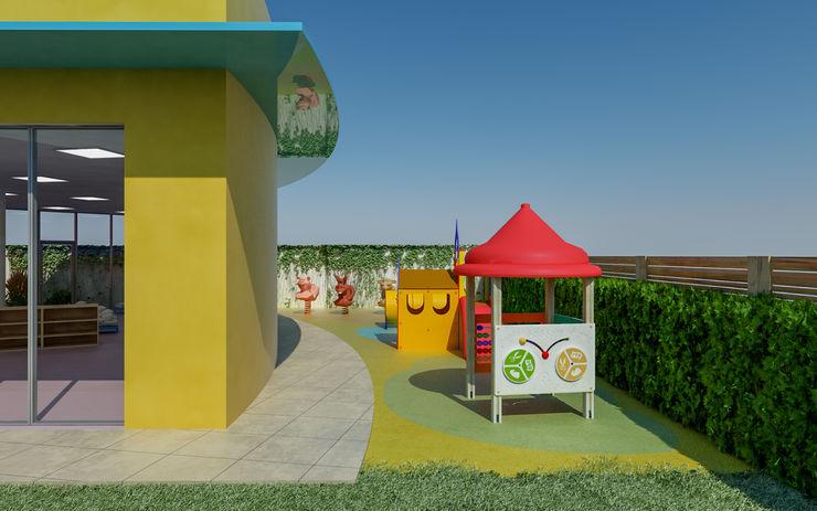 Area esterna asilo con disposizione giochi Parabolika Consulting Scuole moderne