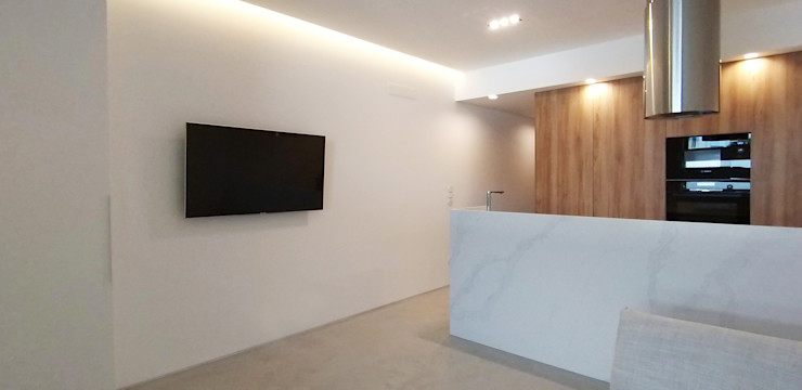 Sala Kitchenette ARCHDESIGN LX Salas de estar minimalistas Madeira Acabamento em madeira