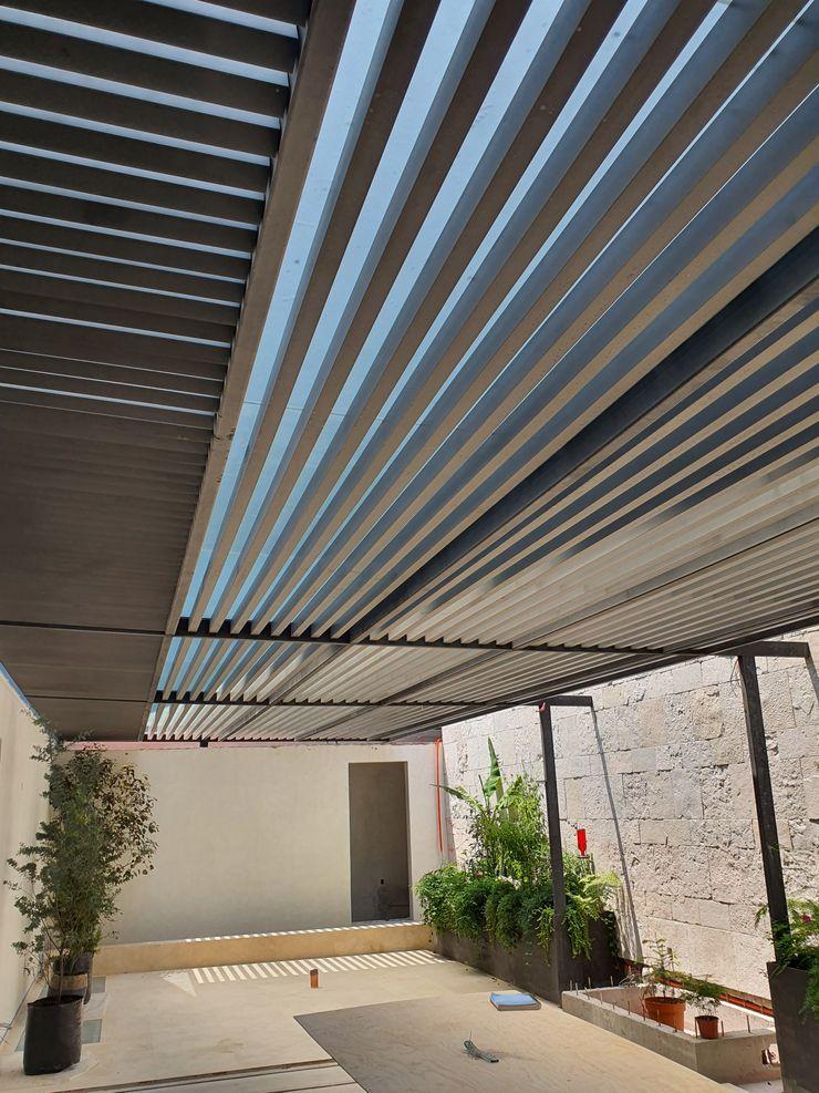 Merkalum Modern style balcony, porch & terrace Glass Grey