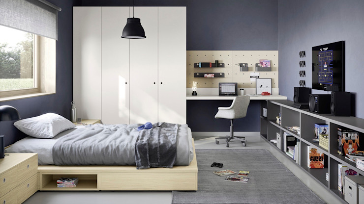 Camera per ragazzi. L&M design di Marelli Cinzia Camera da letto minimalista Legno composito Grigio