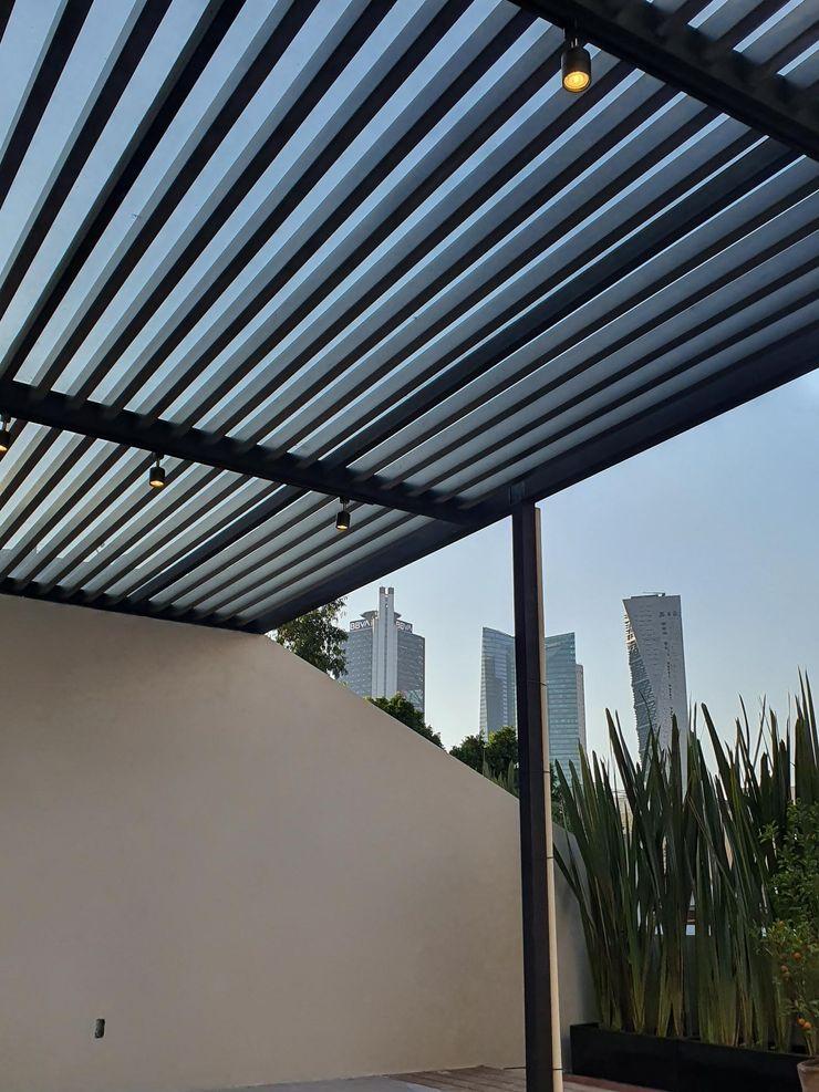 Merkalum Modern style balcony, porch & terrace Glass Black