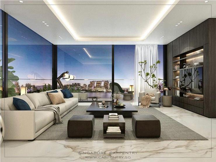 Luxury Hotel Suite Home @ Jalan Pelepah Singapore Carpentry Interior Design Pte Ltd Modern living room Marble White