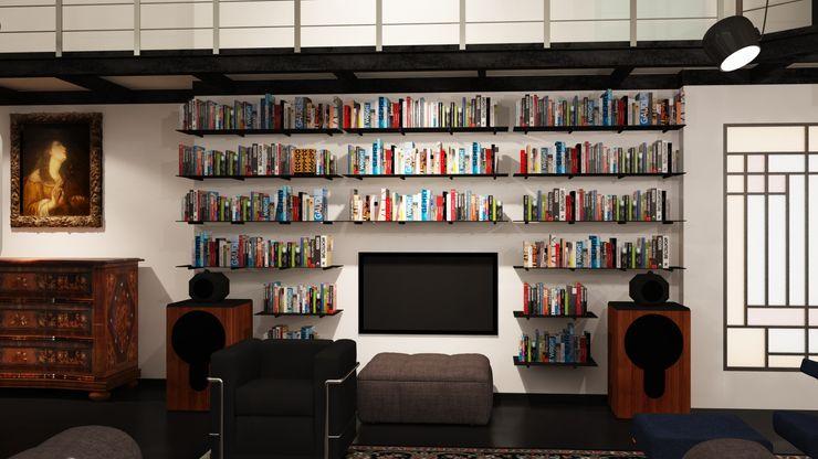 ibedi laboratorio di architettura Modern Study Room and Home Office Silver/Gold Metallic/Silver