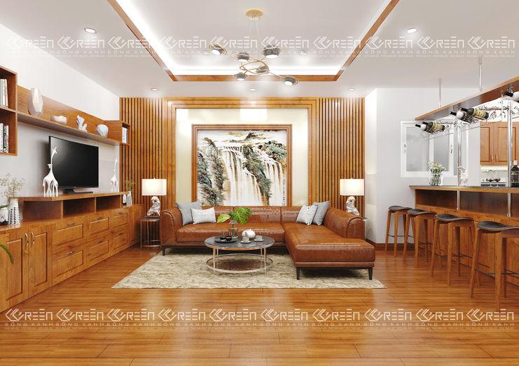 Không gian nội thất phòng khách Công ty TNHH Thiết Kế Xây Dựng Xanh Hoàng Long Living roomTV stands & cabinets Wood effect