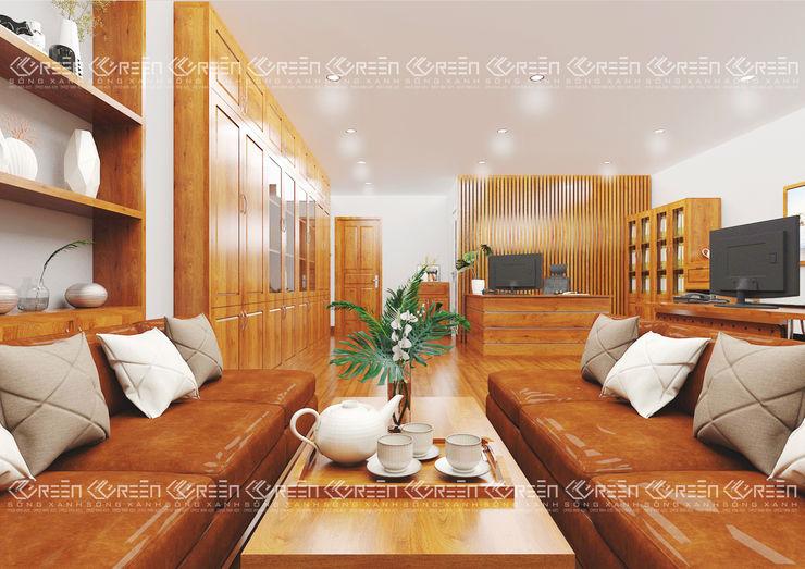 Không gian nội thất phòng làm việc Công ty TNHH Thiết Kế Xây Dựng Xanh Hoàng Long Office spaces & stores Wood effect