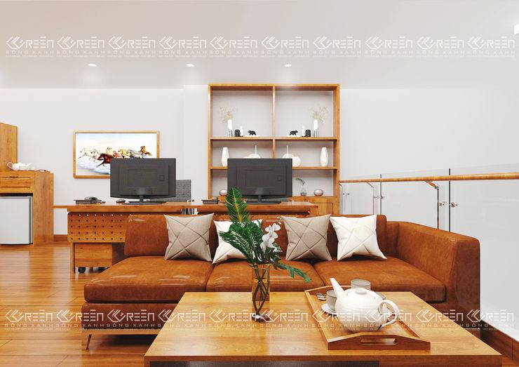 Không gian nội thất làm việc Công ty TNHH Thiết Kế Xây Dựng Xanh Hoàng Long Office spaces & stores Wood effect