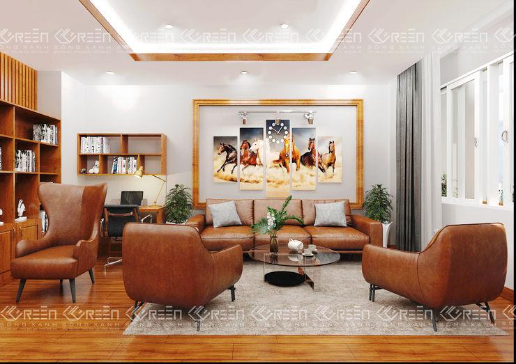Không gian nội thất phòng ngủ Master Công ty TNHH Thiết Kế Xây Dựng Xanh Hoàng Long Phòng ngủ nhỏ Gỗ Wood effect