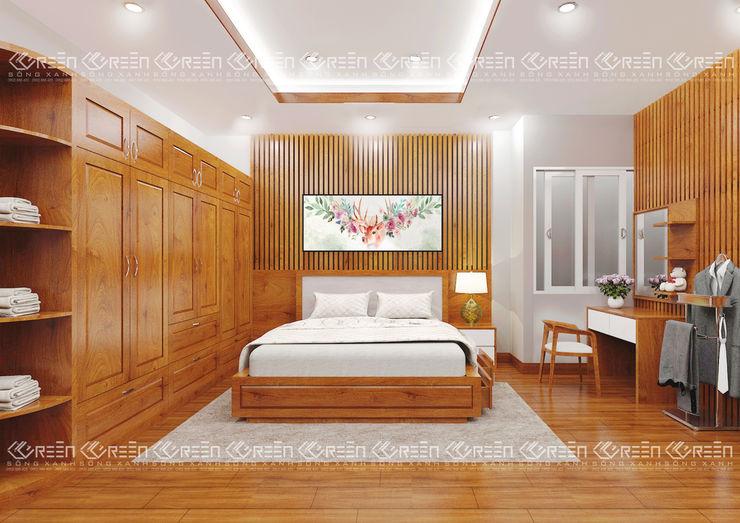 Không gian nội thất phòng ngủ Công ty TNHH Thiết Kế Xây Dựng Xanh Hoàng Long BedroomBeds & headboards Gỗ Wood effect