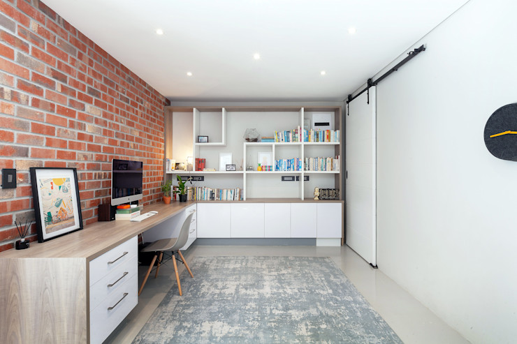 Home study Holloway and Davel architects Study/office Bricks White