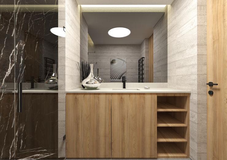 Casa de Banho ARCHDESIGN LX Casas de banho minimalistas Madeira Acabamento em madeira