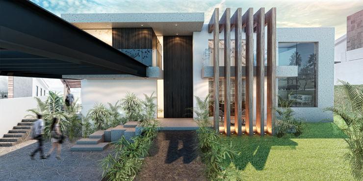 Vista desde banqueta G._ALARQ + TAGA Arquitectos Casas unifamiliares Mármol Acabado en madera
