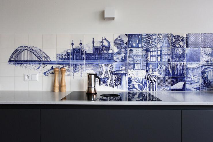 José den Hartog Eclectic style living room Tiles Blue
