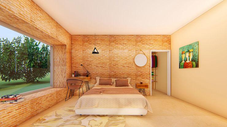 South Carolina House - Bedroom 1 NSBW Rustic style bedroom Bricks Beige