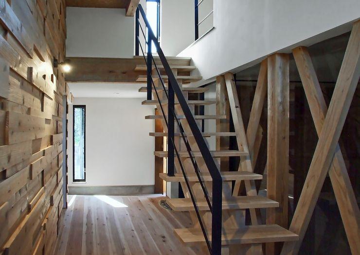玄関ロビー 岩瀬隆広建築設計 モダンスタイルの 玄関&廊下&階段 無垢材 白色