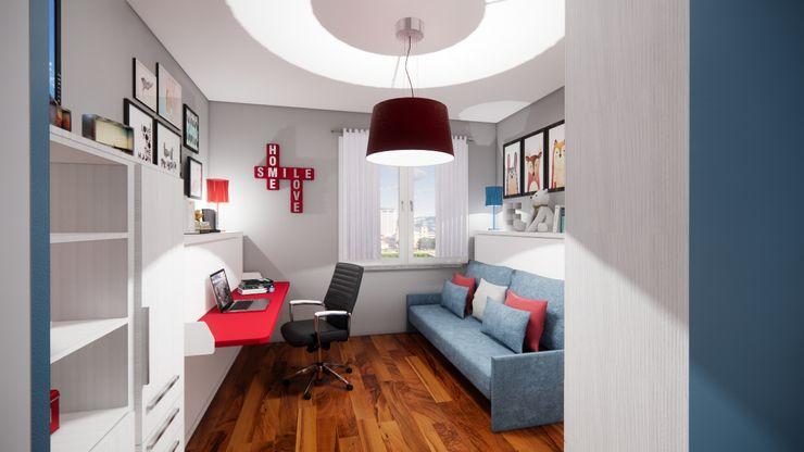 Progetto d'arredo trasformabile a letti chiusi Silvia Camporeale Interior Designer Camera da letto piccola Legno composito Bianco