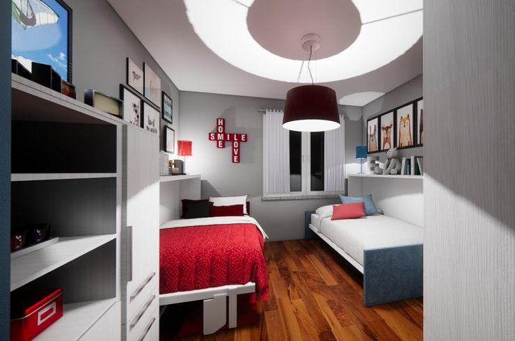 Progetto d'arredo trasformabile a letti aperti Silvia Camporeale Interior Designer Camera da letto piccola Legno composito Bianco