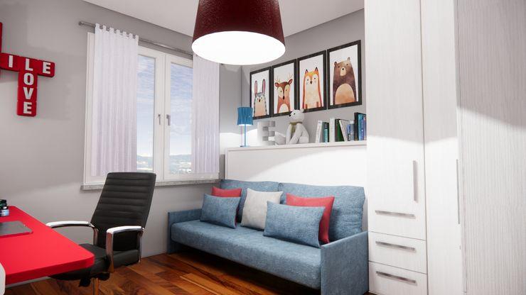 Progetto e realizzazione della parete letto con divano Silvia Camporeale Interior Designer Camera da letto piccola Legno composito Bianco