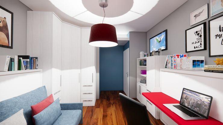 Progetto armadiatura Silvia Camporeale Interior Designer Camera da letto piccola Legno composito Effetto legno