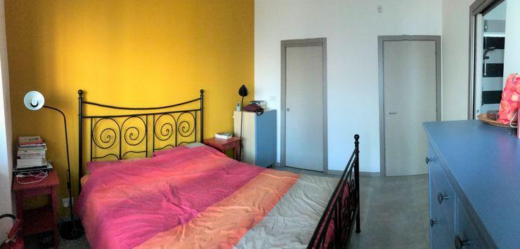 Camera da letto prima dell'intervento Silvia Camporeale Interior Designer Camera da letto piccola Ferro / Acciaio Ambra/Oro