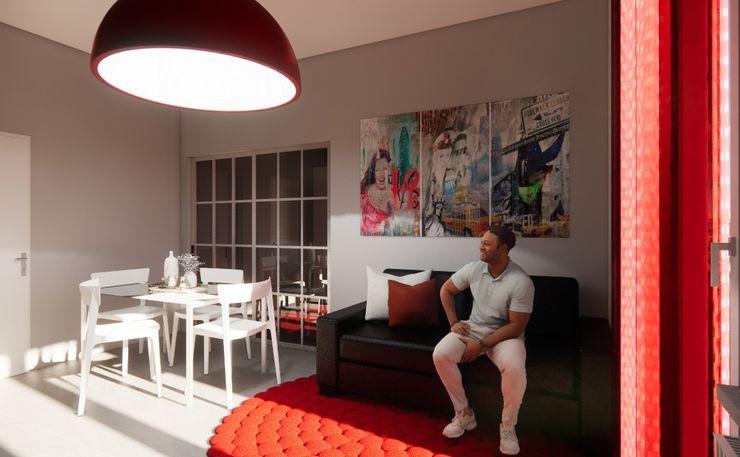 Progetto e render della sala da pranzo Silvia Camporeale Interior Designer Sala da pranzo moderna Ferro / Acciaio Bianco