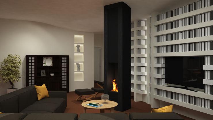 ibedi laboratorio di architettura Minimalist living room Iron/Steel White