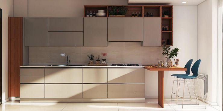 Progettazione e realizzazione cucine e sale da pranzo Archiview_Studio Tecnico Negro Cucina attrezzata Beige
