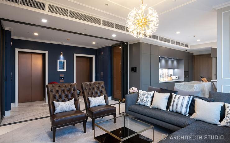 The Monument Thong Lo Unit 998/106 D' Architects Studio ห้องนั่งเล่น Blue
