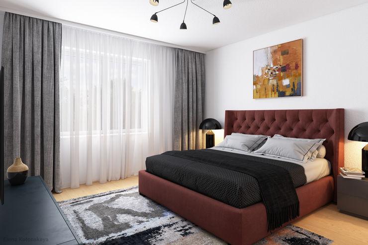 GRIFFEL 3D DESIGN モダンスタイルの寝室 灰色