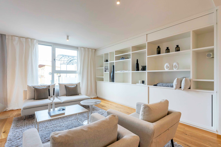 Münchner home staging Agentur GESCHKA Minimalist bedroom White