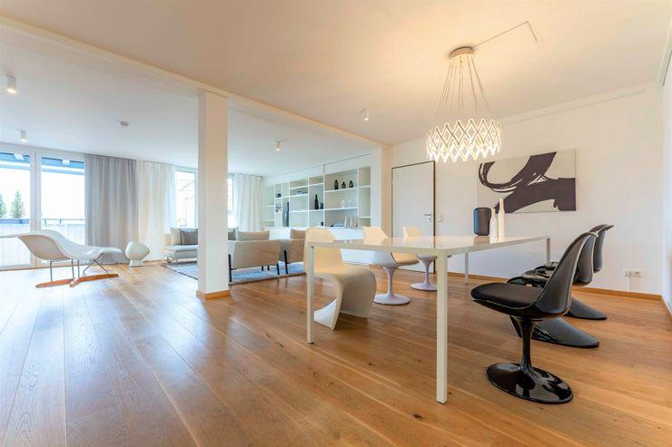 Münchner home staging Agentur GESCHKA Minimalist dining room Black