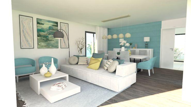 Projeto de interiores em moradia- AE LB ARQ_ projetos de arquitetura Salas de estar modernas