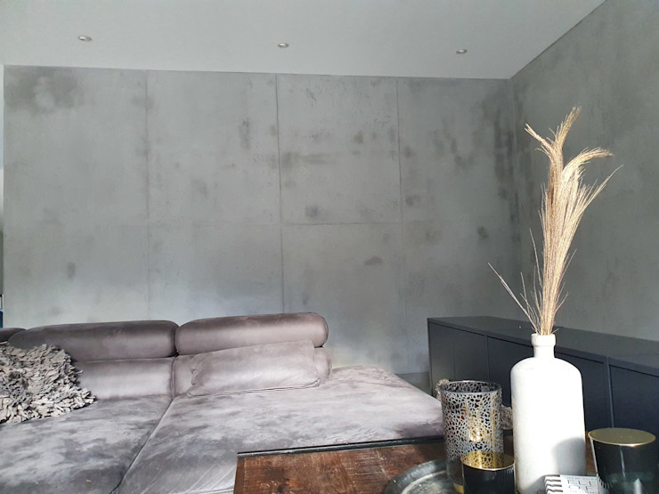 malermeister klaudius kurtz Minimalist living room Reinforced concrete Grey