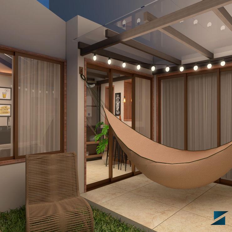 Pátio e Varanda Shayene Fortes Arquitetura e Interiores Varandas Madeira Bege