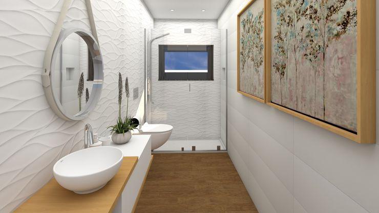 Casa de Banho Social Ginkgo Design Studio Casas de banho modernas Cerâmica Branco