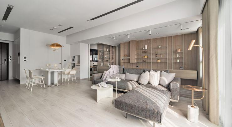 蘊。質淬 文儀室內裝修設計有限公司 现代客厅設計點子、靈感 & 圖片 木頭 Wood effect