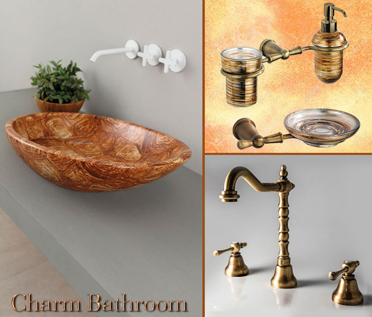 Ambiente bagno in bronzo antico Charm Bathroom Bagno in stile classico Ceramica Effetto legno