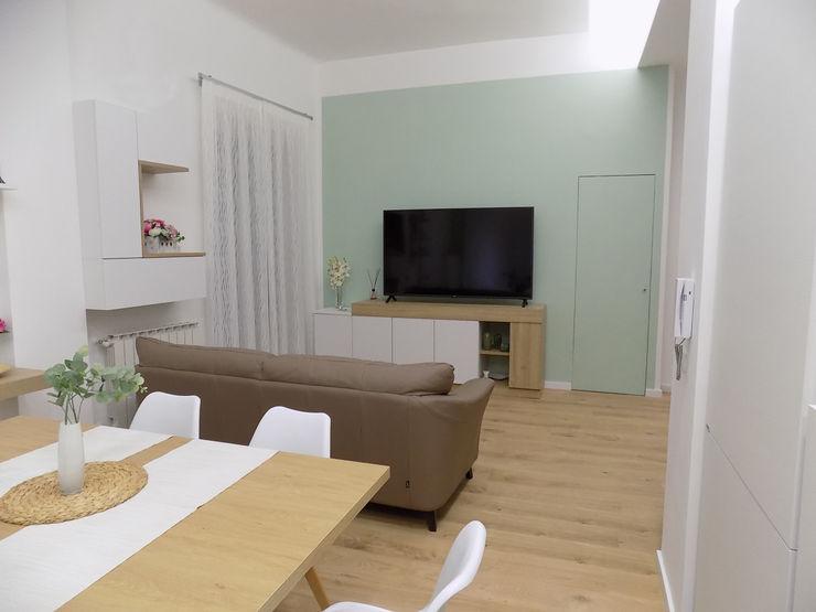 INTERIOR DESIGN ZONA LIVING Seven Project Studio Soggiorno moderno Legno Verde