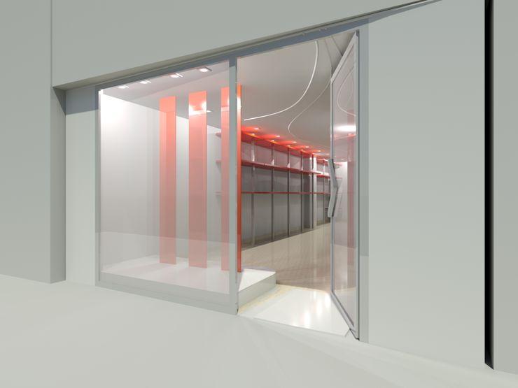 RISTRUTTURAZIONE NEGOZIO ABBIGLIAMENTO ANGRI - VETRINA Seven Project Studio Negozi & Locali commerciali moderni Legno Variopinto
