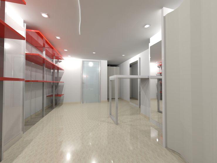 RISTRUTTURAZIONE NEGOZIO ABBIGLIAMENTO ANGRI - PAVIMENTAZIONE Seven Project Studio Negozi & Locali commerciali moderni Legno Variopinto