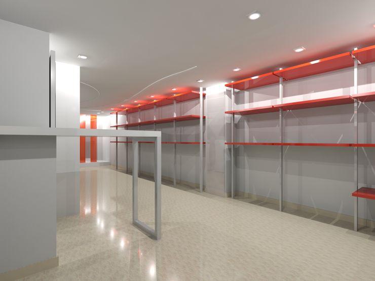 RISTRUTTURAZIONE NEGOZIO ABBIGLIAMENTO ANGRI - DETTAGLI INTERNI Seven Project Studio Negozi & Locali commerciali moderni Legno Variopinto