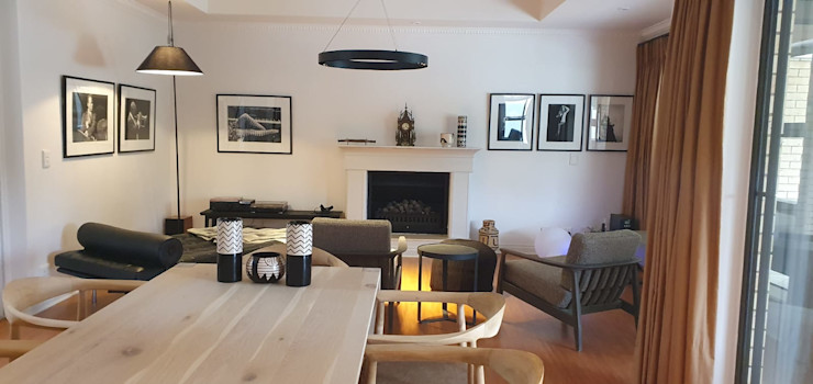 Lounge dining open plan Deborah Garth Interior Design International (Pty)Ltd Living roomSofas & armchairs Wood White