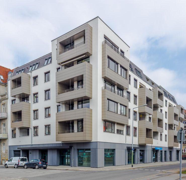 Münchner Platz, Dresden: Eckbau eines Neubaus mit sechs Stockwerken Immobilienfotografie & Architekturfotografie André Henschke Mehrfamilienhaus Beton Beige