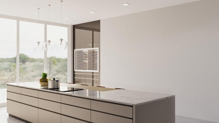kitchen 3D Visualization Rendering Services Pennsylvania JMSD Consultant - 3D Architectural Visualization Studio KitchenLighting Stone Grey