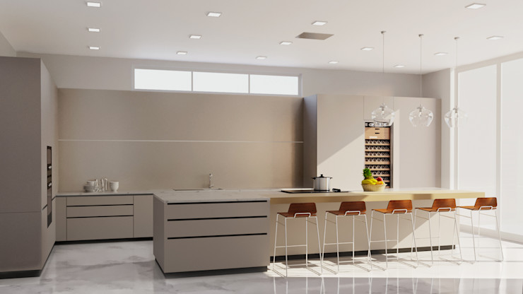 3D Kitchen rendering services JMSD Consultant - 3D Architectural Visualization Studio KitchenAccessories & textiles Solid Wood Grey