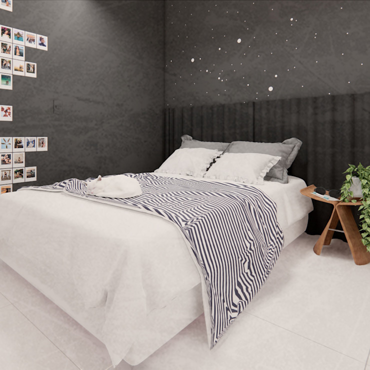 Maria Pontes - Arquitetura e Paisagismo Small bedroom Wood-Plastic Composite Grey