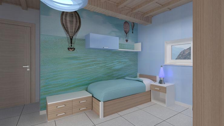 Zona letto Studio interior design Steven Stella Camera da letto piccola Legno composito Turchese