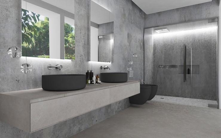 Bagno padronale Studio Zay Architecture & Design Bagno moderno Cemento Grigio