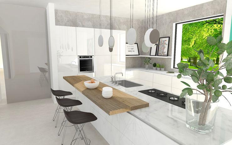 Cucina moderna con isola Studio Zay Architecture & Design Cucina attrezzata Marmo Bianco