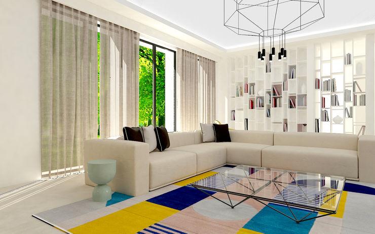 Soggiorno Studio Zay Architecture & Design Soggiorno moderno Cemento Beige