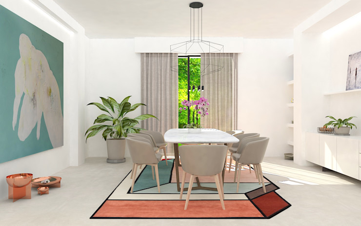 Sala da pranzo Studio Zay Architecture & Design Sala da pranzo moderna Cemento Bianco
